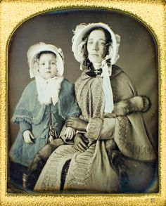 Nice example of adult and child's cloak. daguerreotype