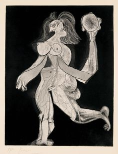 a femme au tambourin, 1939    Woman with Tambourine  Aquatint and line etching on copper on Vélin d'Arches paper, sheet 1/30, printed in 1942 before steel-facing of the plate, 66.5 x 51.2 cm, 74 x 56 cm (sheet)  Photo: Peter Schibli, Basel