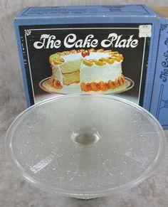 Jeanette Crystal Glass Pedestal Cake Server Plate Harp Pattern Original Box