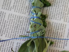 Flip the herb bundle over and tie another knot. Continue tightly tying knots on both sides until you reach the end of the bundle.