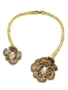 CRYSTAL FLOWER COLLAR  NECKLACE, $850.00