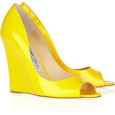 Jimmy Choo Biel patent-leather wedges ($417) ❤ liked on Polyvore featuring shoes, pumps, wedges, heels, yellow, jimmy choo, yellow shoes, slip on shoes, yellow peep toe pumps and wedge heel shoes