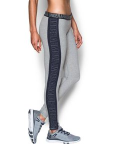 de1ac1a7ab Compression Pants & Tights · Under Armour Women's Favorite Split Word Mark  Legging, True Gray Heather/Midnight Navy,