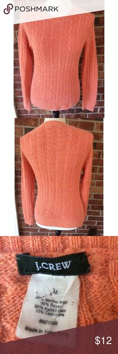 J.Crew Orange Wool Blend Cable Knit Sweater Scoop neck Wool Blend cable Knit Coral Sweater. There are no holes or stains. Size medium J. Crew Sweaters Crew & Scoop Necks