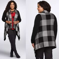 """Torrid Plaid Drape Front Cardigan Plus Size 3 Brand New With Tags Plus Size 3 (22/24) 3X Retails For $74.50 Highly Rated 5-Star  This black and grey plaid cardi guarantees comfort thanks to its bundle-ready length,   belt-worthy drape front, and heavy-weight fabric.   Black raglan sleeves pare down the eye-catching print.    Size 1 measures 34 1/4"""" from shoulder Acylic/Nylon torrid Sweaters Cardigans"""