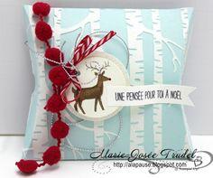 A La Pause: Marie-Josée Trudel SU Stampin' Up! Boite Boîte Oreiller Pillow Box Noël Blanc White Christmas