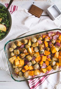 sweet potato, sausage + apple bake