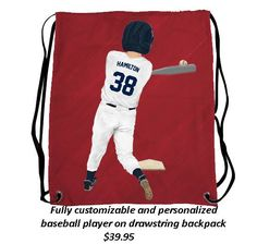 Order a drawstring bag with an image of your child playing their favorite sport!