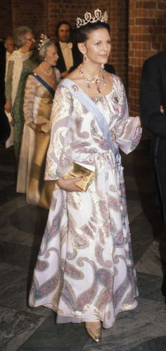 Queen Silvia at the Nobel prize banquette in 1977