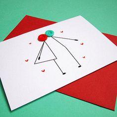 kissing couple- stick figures card