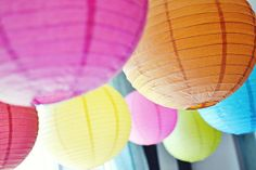 Rainbow Party Paper Lanterns: Chinese paper lanterns hung overhead provided lots of color for the party room. Source: Belva June
