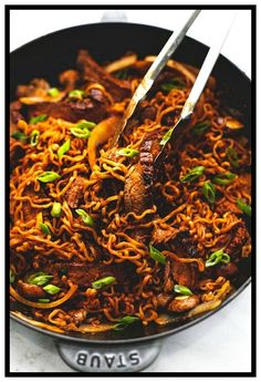 pan spicy Korean beef noodles recipe made with a simple Korean marinade and ramen noodles with onions and mushrooms makes a tasty dinner you'll have ready in just 30 minutes. Spicy Korean Beef Noodles Recipe, Beef Ramen Noodle Recipes, Spicy Ramen Noodles, Beef Noodle Stir Fry, Beef And Noodles, Korean Noodles, Ramen Food, Chinese Dry Noodles Recipe, Simple Noodle Recipe