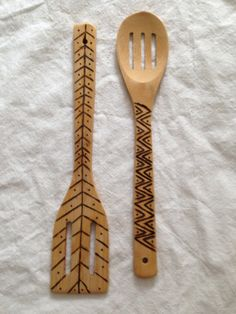 2 Bamboo wood burned spoons by asmallhive on Etsy, $15.00. Like the right hand pattern ;)
