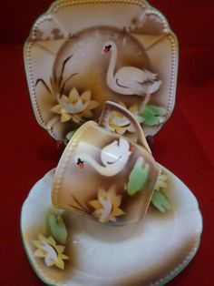 Vintage Bavaria Tea Cup and Saucer Trio Brown Fade, Water Lily, Swans