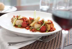 Four Seasons Hotel Toronto offers an array of downtown dining options including the French-styled Café Boulud or lively d Four Seasons Hotel, Hotels And Resorts, Fine Dining, Fruit Salad, Gourmet Recipes, Toronto, Strawberry, Restaurant, Food