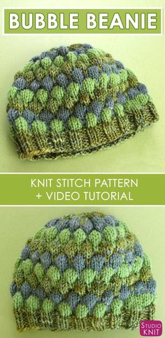 Learn how to Knit this super cute Bubble Stitch Beanie Hat with free Knitting Pattern and video tutorial by Studio Knit. #knittingpattern #studioknit #howtoknitahat