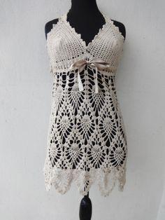 Hand Crochet Tank Pineapple Lace Crochet Top by CrazyButterflies, $35.00