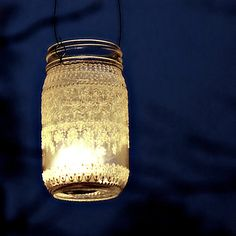 Hand Painted Mason Jar Moroccan Lantern, Lace  Design in White Pearl - on Crystal Clear Glass. $28.00, via Etsy.