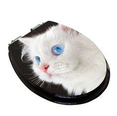 WC-Sitz Weiße Katze
