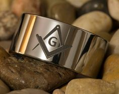 Tungsten Carbide Band 12mm Pipe Masonic Design Ring