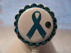 Teal Ribbon Ovarian Cancer Awareness ID Badge Holder with Charm Retractable Reel