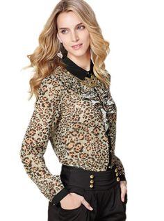 Huafeng Leopard Chiffon Long Sleeve Shirt Blouses « Clothing Impulse