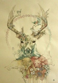 Perhaps a horse with dogs instead of wolves? In a similar water colour style with flowers and other embellishments.