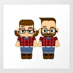 Hipster+chick+and+dude+Art+Print+by+BoxEdsPaperCrafts+-+$18.72