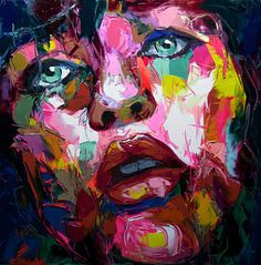 """""""Untitled 850"""" - Françoise Nielly, oil on canvas, 2015 {evocative #expressionist art female head woman face portrait painting drips #loveart} francoise-nielly.com"""