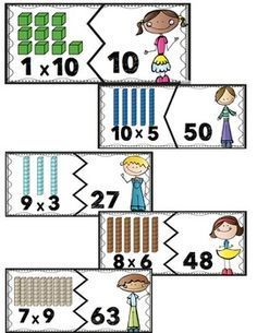 Build multiplication fact fluency with these puzzles for multiples of Multiplication facts are demonstrated in arrays with base ten blocks. Maths Puzzles, Sorting Activities, Color Activities, Math Games, Base Ten Blocks, Math Sheets, Color Puzzle, Cycle 2, Math Words