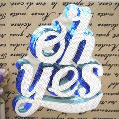 Vintage Sequin Applique Letter embroidered Patch by Laceshine
