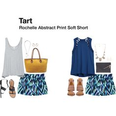 """""""Rochelle Abstract Print Soft Short"""" by katrinalake on Polyvore"""