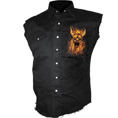 A sleeveless workers shirt by UK goth clothing brand Spiral Direct, stone washed black denim printed with Burn in Hell motive.