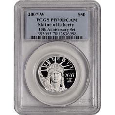 2007-W PCGS PR70 Reverse Proof $50 Platinum Statue of Liberty Rare Collectable