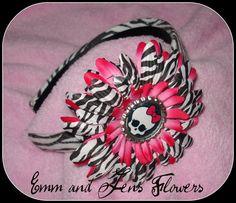 Zebra and Hot Pink Punky Girl Monster High by Emmandjensflowers, $7.00