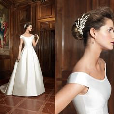 duchess satin boat neck wedding dress with 3/4 sleeves - Google Search