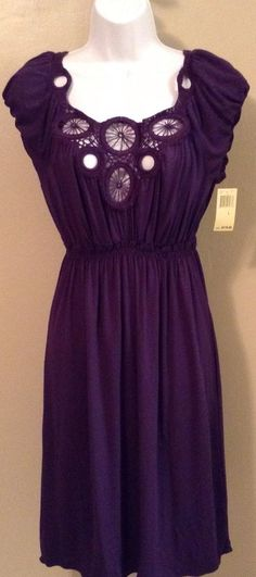 MAX EDITION Large Violet Purple Short Sleeve Crochet Neck Knee Length Maxi Dress #MaxEdition #Maxi #Casual