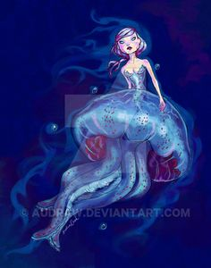 Purple Jellymaid (Jellyfish Mermaid) by Audraw