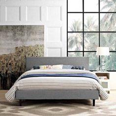 Modway Anya Full Upholstered Platform Bed, Multiple Colors, Gray
