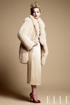 jennifer lawrence in a beautiful fur for Elle