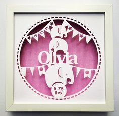 New baby papercut with choice of scrapbook paper design
