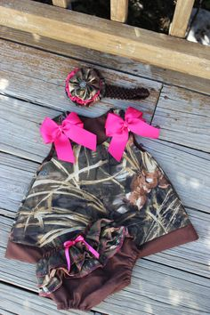 Camo Dress with Ruffled Bloomers for a little girl! :)