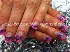 Pink Snow Flakes.  nailartbyamyblair.blogspot.com