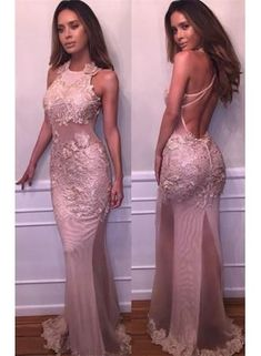 Halter ,Delicate ,Mermaid, Lace-Appliques, Sleeveless, Prom Dress, Sexy Evening Dress, Formal Evening Gowns