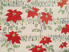 Vintage Christmas Wrapping Paper - Red Poinsettia and Little Green Christmas Trees - 1 Unused Full Sheet Christmas Gift Wrap