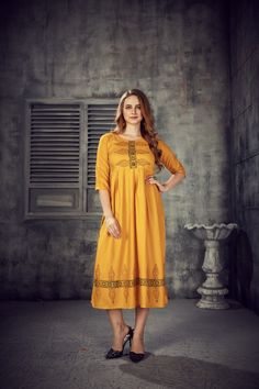 Women's Yellow Colored Rayon 2 Tone Pleated Kurti With Foil - gnp007249 | Visit : www.grabandpack.com | TO BUY THIS BEAUTIFUL OUTFIT CONTACT US / WHATS APP US ON : +91 9898133588 || EMAIL US AT grabandpack@gmail.com || you can visit on www.grabandpack.com | #style #chennai #cotton  #sareeinspiration #sareesonline #bridalsarees #pet #sareeseduction  #saree2020 #2020trending #kurti #chex #sleeveless #walkway #pleated #indowestern #kurti #straight #charming #bluehills #pearl #handwork #foilprint Stylish Kurtis, Sarees Online, Half Sleeves, Beautiful Outfits, Short Sleeve Dresses, One Piece, Shirt Dress, Summer Dresses, Yellow