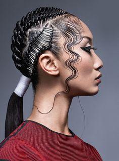 Haare im Gesicht (Hair Braids Ponytail) Pelo Editorial, Beauty Editorial, Hair Afro, Hair Buns, Natural Hair Styles, Short Hair Styles, Hair Shows, Creative Hairstyles, Crazy Hair