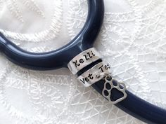Stethoscope ID Ring with Charms Stethoscope ID Tag by meandowen