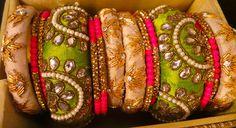 fancy bangles zardosi Kundan Bangles, Silk Bangles, Bridal Bangles, Hand Jewelry, Fabric Jewelry, Handmade Jewelry, Silk Thread Bangles Design, Thread Jewellery, Jewelry Patterns