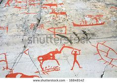 stock photo : ancient rock carvings (petroglyphs) in Alta, Norway